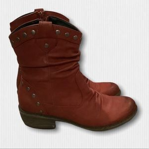 Rieker Oxblood Leather Western Ankle Boots Size 40